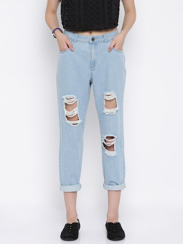 Vero Moda Women Blue Mid Rise Highly Distressed Jeans at myntra