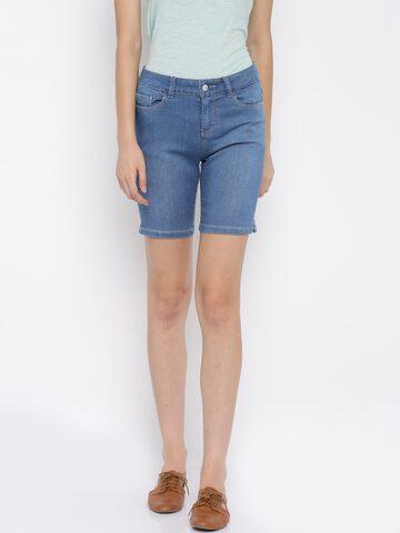Vero Moda Women Blue Solid Regular Fit Denim Shorts at myntra