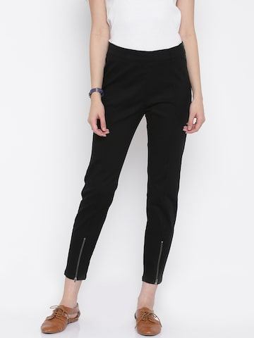 Vero Moda Women Black Solid Cigarette Trousers at myntra