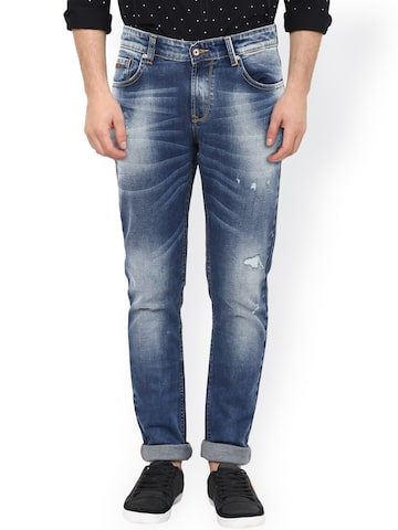 SPYKAR Men Blue Super Skinny Fit Low-Rise Low Distress Jeans at myntra