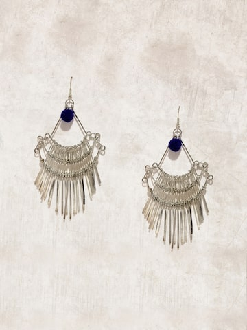 Anouk Silver-Toned & Blue Contemporary Drop Earrings at myntra