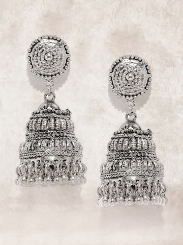 Anouk Silver-Toned Oxidised Jhumkas at myntra