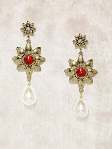 Anouk Gold-Toned & Red Drop Earrings at myntra