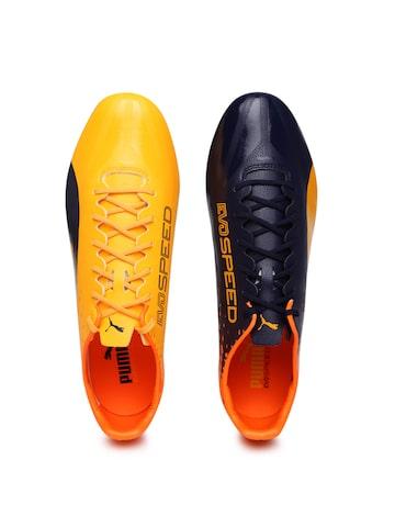 Puma Men Yellow & Orange evoSPEED 17 SL S FG Football Shoes at myntra