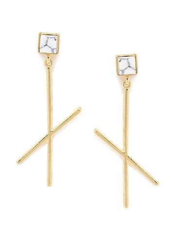 ToniQ Gold-Toned & Grey Beaded Drop Earrings at myntra