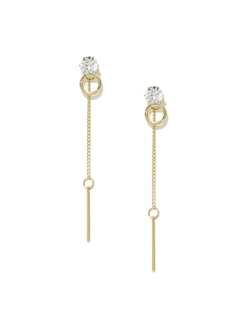 ToniQ Gold-Toned & White Double-Sided Drop Earrings at myntra