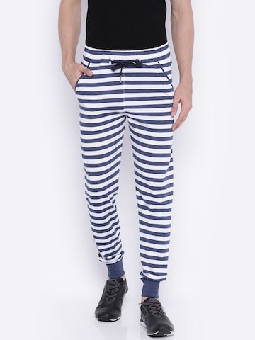 Sports52 wear White & Navy Blue Striped Joggers at myntra