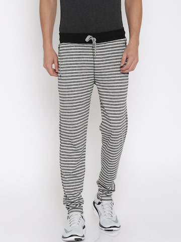 Sports52 wear Black & Grey Melange Striped Track Pants at myntra