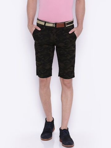Sports52 wear Men Brown and Black Printed Regular Fit Chino Shorts at myntra