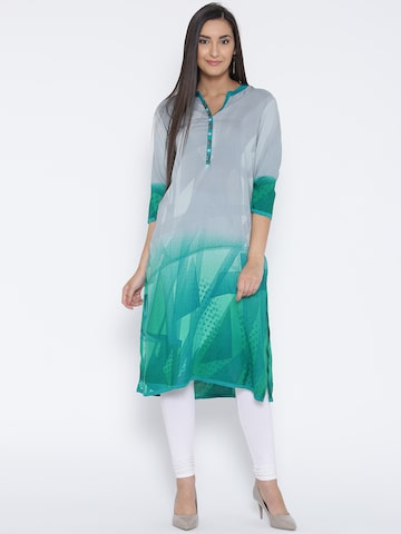 Shree Women Grey & Green Printed Straight Kurta at myntra