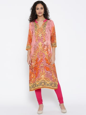 Shree Women Pink Printed Straight Kurta at myntra