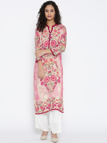 Shree Women Pink & Cream-Coloured Printed Straight Kurta at myntra
