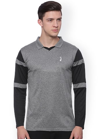 Campus Sutra Men Grey Self-Design Odour-Free Sports Polo T-shirt at myntra