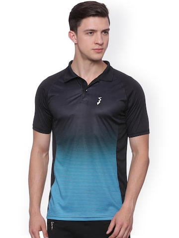 Campus Sutra Men Black & Blue Printed Odour-Free Sports Polo T-shirt at myntra
