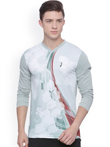 Campus Sutra Men Grey Printed Odour-Free Sports T-shirt at myntra