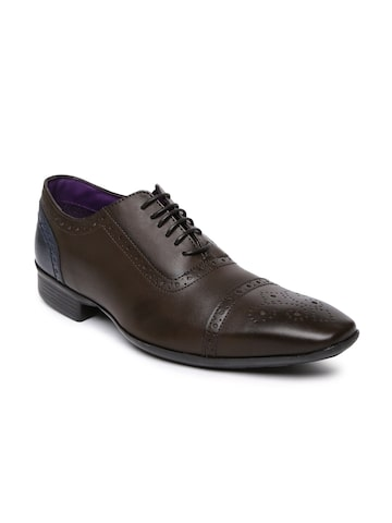 Knotty Derby Men Brown & Navy Square-Toed Arthur TC Colourblocked Brogues at myntra