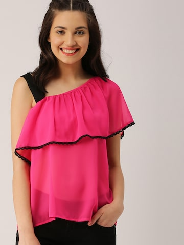 DressBerry Women Pink Solid Top at myntra