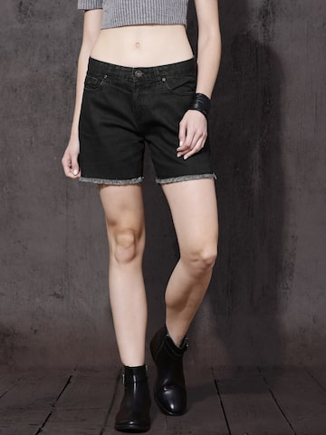 Roadster Women Black Solid Denim Shorts at myntra