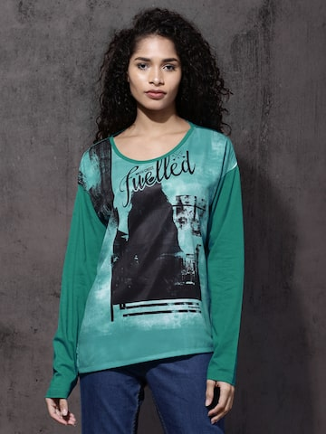 Roadster Women Green Printed Round Neck T-Shirt Roadster Tshirts at myntra