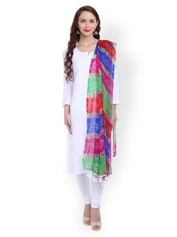 Dupatta Bazaar Multicoloured Bandhani Print Chiffon Dupatta at myntra
