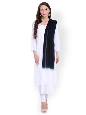 Dupatta Bazaar Black & White Tie-Dyed Dupatta at myntra