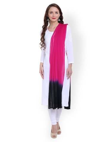 Dupatta Bazaar Pink & Black Tie-Dye Chiffon Dupatta at myntra