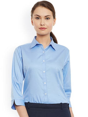 Cherymoya Women Blue Smart Fit Casual Shirt at myntra