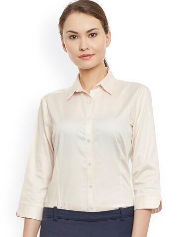 Cherymoya Women Peach Smart Fit Solid Formal Shirt at myntra