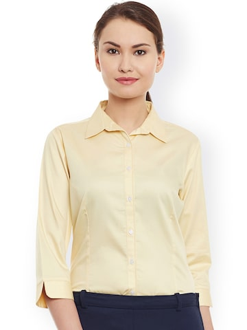 Cherymoya Women Yellow Smart Fit Solid Formal Shirt at myntra