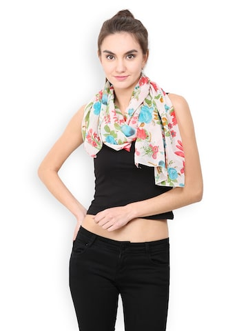 Trend Arrest Off-White Floral Print Scarf at myntra
