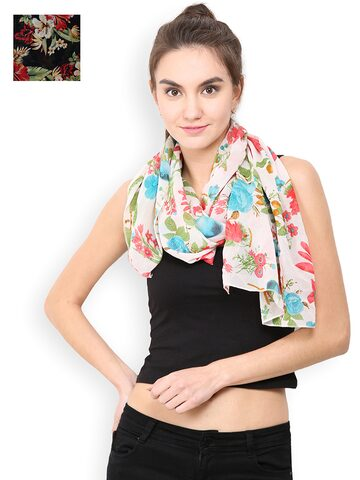 Trend Arrest Set Of 2 Floral Print Scarves at myntra