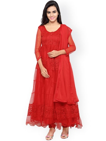 Shah-Fabrics Red Patterned Brasso Semi-Stitched Dress Material at myntra