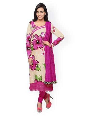 Shah-Fabrics Pink & Beige Floral Print Semi-Stitched Dress Material at myntra