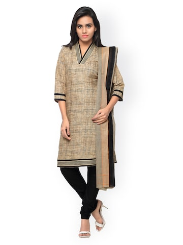 Shah-Fabrics Beige & Black Printed Cotton Semi-Stitched Dress Material at myntra