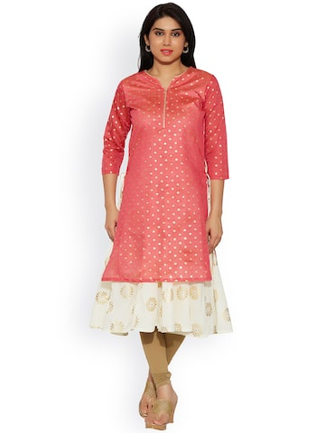 Jashn Women Pink Printed A-Line Kurta at myntra