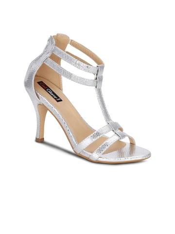 Get Glamr Women Silver-Toned Heels at myntra