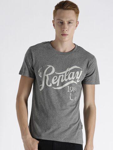Replay Men Grey Melange Printed Round Neck T-shirt at myntra