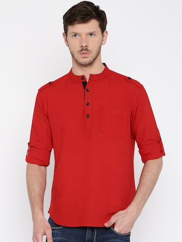 Svanik Men Red Solid Pathani Kurta at myntra