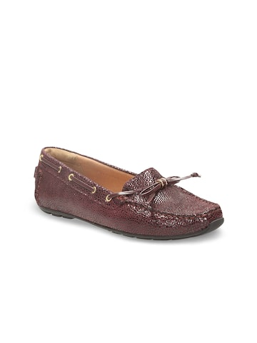 Clarks Women Burgundy Solid Leather Boat Shoes Clarks Casual Shoes at myntra