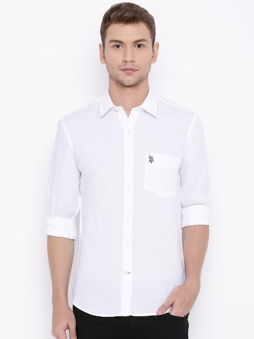 U.S. Polo Assn. Men White Solid Tailored Fit Linen Casual Shirt at myntra