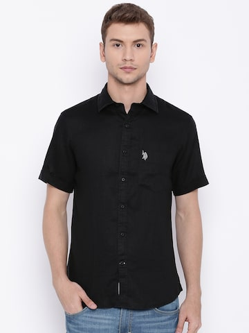 U.S. Polo Assn. Men Black Tailored Fit Linen Casual Shirt at myntra