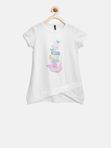 United Colors of Benetton Girls Off-White Printed A-Line Top at myntra