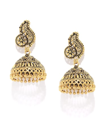 Rubans Antique Gold-Toned Jhumka Earrings at myntra