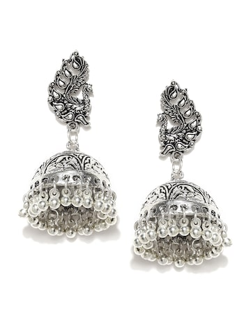 Rubans Oxidised Silver-Toned Jhumka Earrings Rubans Earrings at myntra