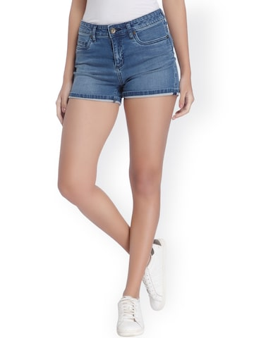 Vero Moda Women Blue Solid Denim Shorts at myntra