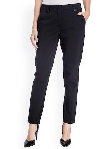 Vero Moda Black Slim Fit Cigarette Trousers at myntra