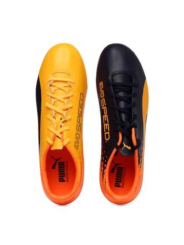 Puma Men Yellow & Black evoSPEED 17.2 FG Football Shoes at myntra