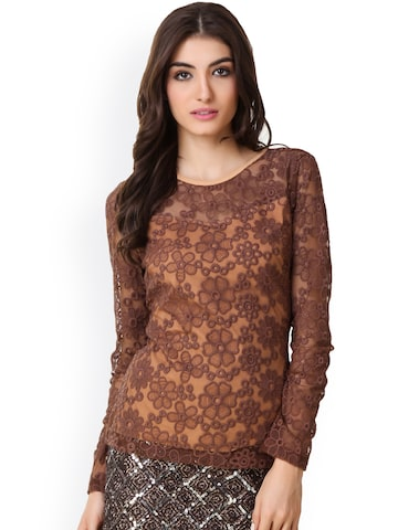 Texco Brown Lace Top at myntra
