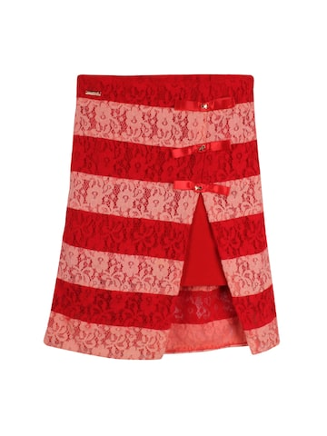 CUTECUMBER Girls Red & Peach Striped Lace A-Line Skirt at myntra