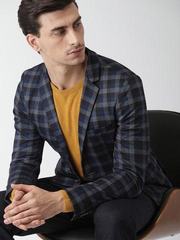 INVICTUS Navy & Black Checked Slim Fit Single-Breasted Blazer INVICTUS Blazers at myntra